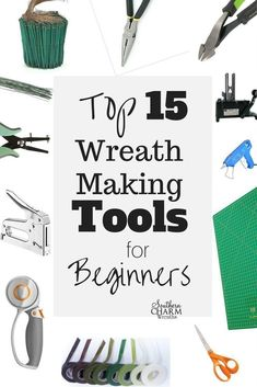 Top 15 Wreath Making Tools for Beginners by Southern Charm WreathsIf your new to wreath making, it can get overwhelming to know what wreath making tools of the trade you need and don't need. Here are 15 wreath making tools you need. Wreath Crafts, Diy Wreath, Wreath Ideas, Mesh Wreaths, Diy Crafts, Floral Wreaths, Wooden Crafts, Holiday Wreaths, Holiday Crafts