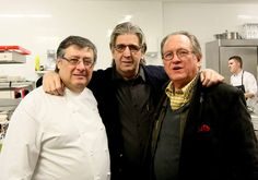 Chef-owner Fermi Puig, Juli Soler & Gerry Dawes in the kitchen at Restaurante Fermi Puig, Barcelona, January 2015.