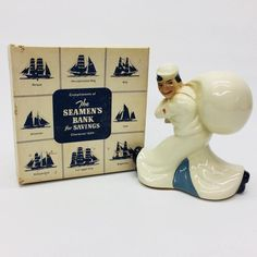 Vintage McCoy Pottery Seamen's Savings Coin Bank WWII Era Sailor Figure With Box  | eBay