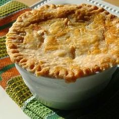 """A delicious chicken pie made from scratch with carrots, peas and celery."""