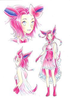 Sylveon - Gijinka Design by RoCkBaT on DeviantArt Pokemon People, All Pokemon, Cute Pokemon, Pokemon Costumes, Pokemon Cosplay, Pokemon Outfits, Eevee Evolutions, Pokemon Eeveelutions, Pokemon Human Form