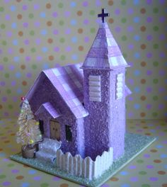 Easter Pastel Putz style Village Church by thesaltboxcollection, $25.00