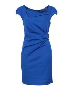 Blauwe jurk met gesp