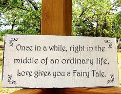 once in a while, right in the middle of an ordinary life, love gives you a fairy tail.