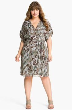 Adrianna Papell Print Faux Wrap Chiffon Dress (Plus) available at #Nordstrom