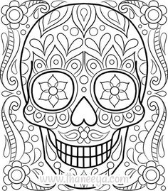 Free Sugar Skull Coloring Page by Thaneeya McArdle | She's got a lot more for free personal use on her blog | Free download