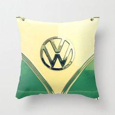 Aqua Sprinkles  - Throw Pillow - Home Decor - Teal, Retro VW bus, hippie, hipster, van, rain, raindrops