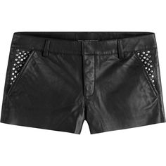 Zadig & Voltaire Leather Shorts ($350) ❤ liked on Polyvore featuring shorts, black, slim shorts, studded shorts, flat front shorts, studded pocket shorts and leather mini shorts