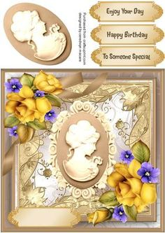 Lovely Cream Cameo and Yellow Roses  on Craftsuprint - Add To Basket!