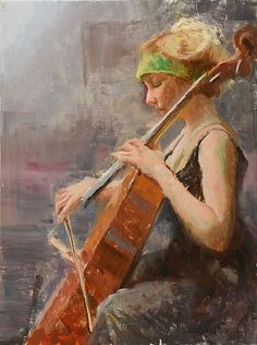 Cello Practice by William Schneider Oil ~ 24 x 18 Woman Painting, Figure Painting, Lost In Thought, Cello, Violin, Amazing Art, Amazing Music, Portrait Art, Art Music