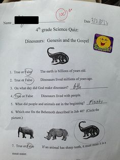 South Carolina Christian School Fourth Grade Science Quiz. This pretty sad that our children are NOT being taught the truth.
