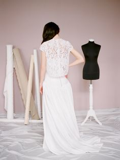 Modern minimalistic wedding dress Polly Jean by Milamira Bridal // romantic lace wedding gown with separate jacket