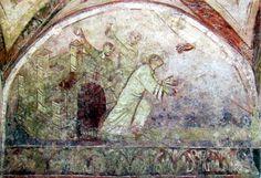 Saint-Germain d'Auxerre: fresque carolingienne de la Lapidation de St-Etienne. 4) Le tout est décoré de plusieurs fresques de la même époque racontant des scènes de la vie de st Pierre qui sont les plus anciennes fresques connues en France. Le 11°s vit la construction de la grande nef romane.