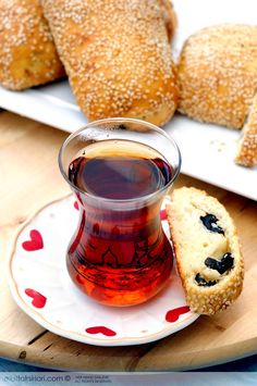 Turkish Tea and Bagels with black olive ♡  #turkishfood