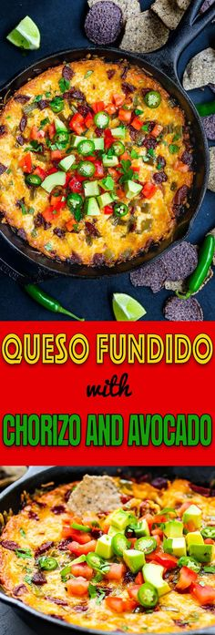 This Easy Queso Fundido with Chorizo and Avocado is chock-full of goodness, full of flavor, and superbly delicious! All you need for easy get-togethers. Appetizer Recipes, Dinner Recipes, Appetizers, Dip Recipes, Cooking Recipes, Cheap Meals, Easy Meals, Mexican Food Recipes, Ethnic Recipes