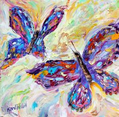 Original oil painting Butterfly Dance abstract by Karensfineart