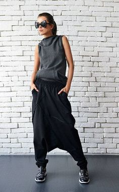 NEW Extravagant Black Pants/Loose Casual Pants/Comfortable Drop Crotch Pants/Oversize Harem Pants/Wide Leg Hippie Pants/Long Black Trousers