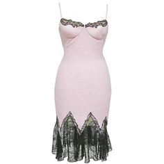 Preowned Gianni Versace Baby Pink Cocktail Dress With Lace Trim, C. ($2,427) ❤ liked on Polyvore featuring dresses, pink, form fitted dresses, versace cocktail dresses, figure hugging dress, pink dress and pink spaghetti strap dress