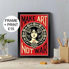 Make Art Not War   A4 / A3 Framed   Print, Poster   eBay Poster Wall, Poster Prints, Framed Prints, Art Prints, Abstract Pictures, Wall Art Pictures, Giant Wall Art, Gaming Wall Art, Make Art