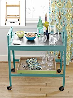 How to transform a mobile cart into an awesome bar. (via S S @ Young House Love) designs interior design 2012 house design decorating home design Diy Projects To Try, Home Projects, Painted Furniture, Diy Furniture, Painted Chairs, Repurposed Furniture, Young House Love, Decorating Tips, Interior Decorating