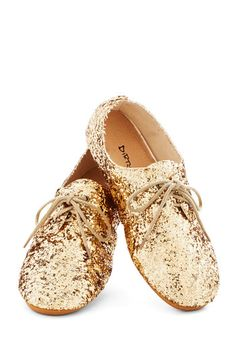 Scintillating Steps Flat - Flat, Gold, Solid, Sequins, Party, Holiday Party, Menswear Inspired, Good, Lace Up