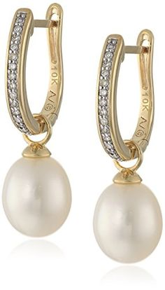 Diamond Earrings Design | 10k Yellow Gold White Freshwater Cultured Pearl Drop with Diamond Accent Huggy Earrings 110cttw IJ Color I2I3 Clarity >>> Want additional info? Click on the image(It is Amazon affiliate link). #cali