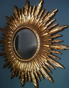 I've just found Antique Gold Sunburst Mirror. This is a stunning gold framed mirror. Gold Sunburst Mirror, Sun Mirror, Golden Mirror, Vintage Mirrors, Retro Mirror, Ornate Mirror, Gold Walls, My New Room, Wabi Sabi