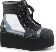 Demonia Shoes - GRIP-102 Black Vegan Leather