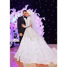 The Gorgeous Bride Lama Mdeyhli In Rami Kadi Swarovski Hand Embroidered Wedding Gown
