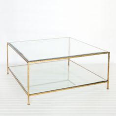 Charmant Worlds AwayQuadro Gold Leaf Square Coffee Table 18u201d H X 37u201d W X 37u201d D  Square Hammered Umber Gold Leaf 2 Tier Coffee Table With Beveled Glass Tops.  Stock ...
