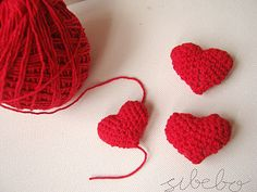 3D crochet heart