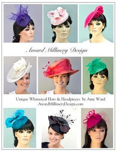 Fabulous and inventive formal summer hats and fascinators, cocktail hats, saucer hats and perchers. Fascinator Headband, Fascinators, Kate Middleton Hats, Royal Ascot Hats, Occasion Hats, Stylish Hats, Kentucky Derby Hats, Cocktail Hat, Fancy Hats