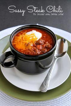 Sassy Steak Chili, marinade meat for award winning chili. http://www.dessertnowdinnerlater.com/2012/10/sassy-steak-chili/