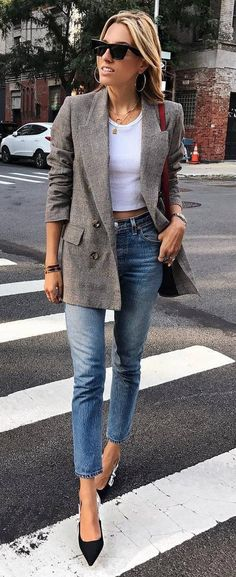 casual style addict : blazer + top + bag + skinny jeans + heels