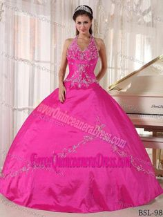 adc81f146b Puffy Halter Taffeta Hot Pink Quinceanera Gown Dress with Appliques   cheapquinceaneradresses Cheap Quinceanera Dresses