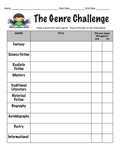 Teaching genre - great to have for their reading folder- 2 week challenge during the 4th 9 weeks. Adjust to 2nd grade genres
