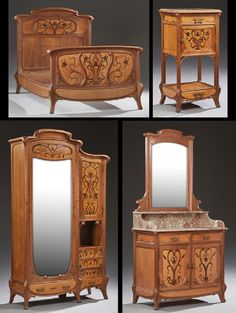 Four Piece French Inlaid Mahogany Art Nouveau Bedroom
