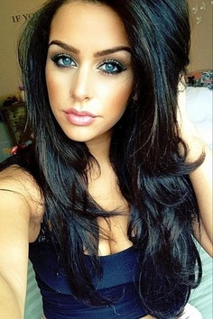 Brown hair and blue eyes.  May be going for this with some subtle lows. I love this color!!!