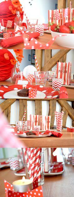 Déco de table rouge à pois blanc