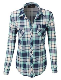 Womens Lightweight Plaid Button Down Shirt with Roll Up Sleeves ...