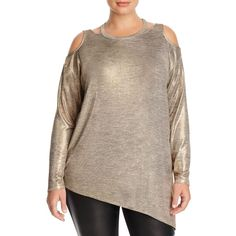 Love Scarlett Plus Metallic Cold Shoulder Sweater ($25) ❤ liked on Polyvore featuring plus size women's fashion, plus size clothing, plus size tops, plus size sweaters, gold, brown sweater, cut out shoulder top, cut-out shoulder sweaters, cold shoulder sweater and metallic top