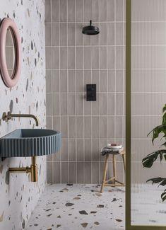 Cosmic Ivory Porcelain Art Deco Bathroom, Stone Bathroom, Bathroom Wall, Family Bathroom, Bathroom Inspo, Bathroom Ideas, Terrazzo Flooring, Bathroom Flooring, Mandarin Stone