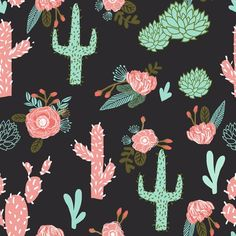 cactus flowers cute girls cacti pink mint cactus and flowers cactus flowers custom fabric by charlottewinter for sale on Spoonflower Cactus Fabric, Floral Fabric, Fabric Flowers, Apple Watch Wallpaper, Iphone Wallpaper, Fabric Wallpaper, Cactus Flower, Flower Pots, Walpapers Cute