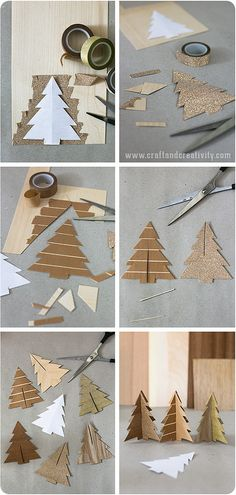 Wood veneer trees - by Craft & Creativity - juletræer i finér Tree Crafts, Christmas Projects, Holiday Crafts, Paper Crafts, Wood Crafts, Christmas Ideas, Noel Christmas, Simple Christmas, Handmade Christmas