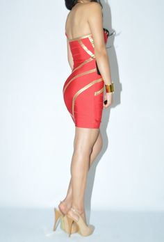 bebe gold Coated Trim Bandage Bodycon Dress