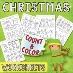 Christmas Count and Color Worksheets