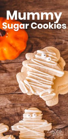 "These easy mummy sugar cookies are the perfect Halloween dessert. So much fun to make together and simple, too! In just a few short minutes, you'll have the most ""un"" spooky Halloween cookies, ever! Halloween Cookies, Halloween Desserts, Christmas Cookies, Healthy Cookie Recipes, Healthy Cookies, Chocolate Chip Cookies, Sugar Cookies, Xmas Cookies, Healthy Biscuits"