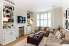 4 bedroom semi-detached house for sale in Knivet Road, London - 32720127 Living Dining Combo, My Living Room, 1930s Semi Detached House, Built In Shelves Living Room, Victoria House, Victorian Living Room, 1930s House, Home Decor Inspiration, Decor Ideas