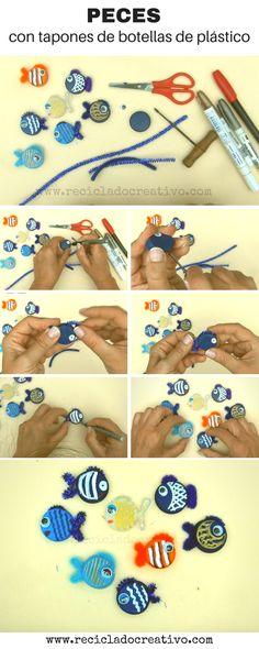 Manualidades para niños. Peces hechos reciclando tapones de botellas de plástico Dyi, Washer Necklace, Diy Projects, Diy Crafts, Activities, Personalized Items, Taps, Ideas Para, Jewelry
