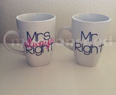His & Her mugs  on Etsy, $10.00